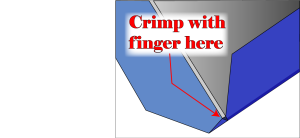 Diagram showing how to crimp corners for DIY hardcover bookbinding